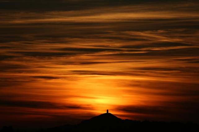 Red Sky, Glastonbury Tor, Somerset