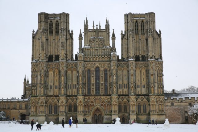 Wells Cathedral and its magnificent West Front in the snow