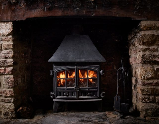 Real log fire