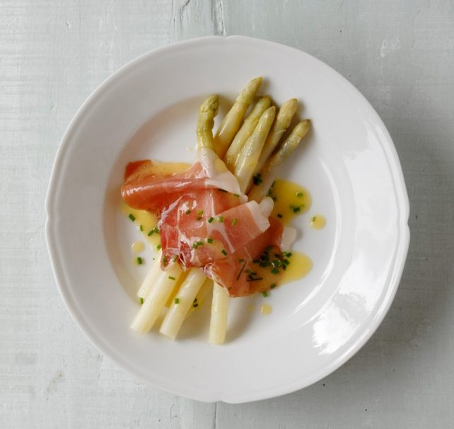 White asparagus starter by Mary Cadogan